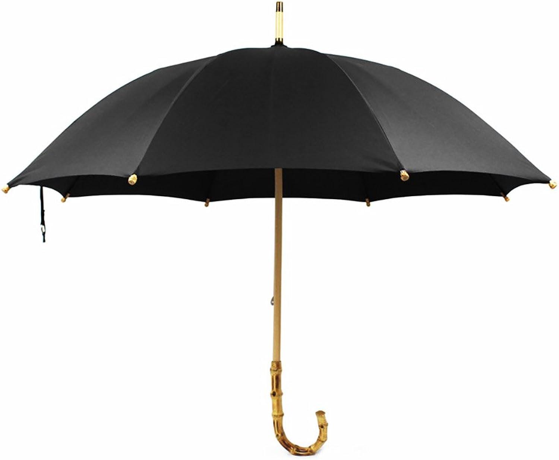 Bic erino di bambù dell'annata della pioggia lunga dell'ombrello doppio uso della uomoiglia di legno delle donne dell'uomo dell'ombrello del bastone di Dualbrella ( Coloreee   Nero )