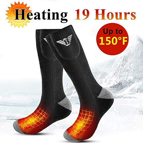 Electric Heated Socks for Men Women Rechargeable Heated Socks 3.7v 4000mAh Heating Socks for Motorcycle,Chronically Cold Feet,Winter Sport,Outdoor (Black-Heat Instep, XL)