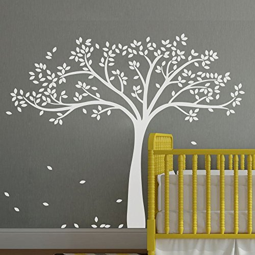 Vinilo adhesivo para pared con diseño de árbol de otoño monocromático, vinilo, blanco, 69