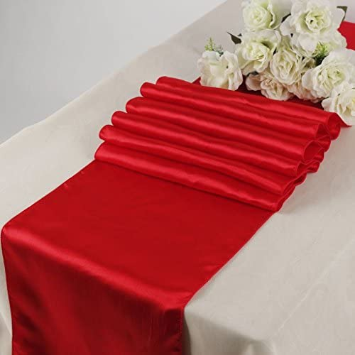 SARVAM FASHION New Pack of 10 Wedding 12 x 108 inch Satin Table Runner for Wedding Banquet Party product image