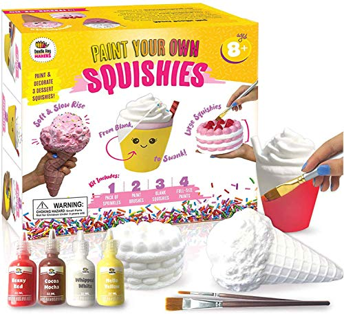 Arts and Crafts for Girls. DIY Dessert Paint Your Own Squishies Kit! Gifts for Craft Lovers Ages 8 9 10 Top Christmas Toys. Box Includes Large Slow Rise Squishies, and Fabric Paint Colors