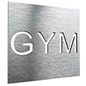 GYM Door Sign - GYM Metal Wall Art Decal - Fitness Room Signage - Home Crossfit Gym Plaque - Training Room Sticker - Workout Room Symbol/pictogram - Easy to Install - Indoor & Outdoor use (Silver)