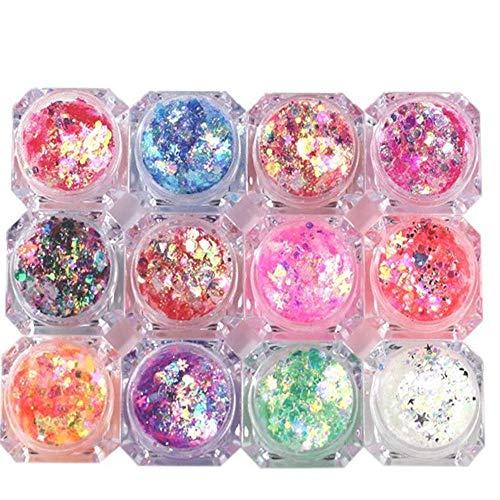 TOCYORIC 8 Box Glitzer Set Glizerpulver Set Glitzerpuder Nagel Pulver Glitzer Pulver Nagel Glitter Nail Art Glitter Pailletten Bunte Pailletten Nagel Glitter Tipps für Nail Dekoration Maniküre