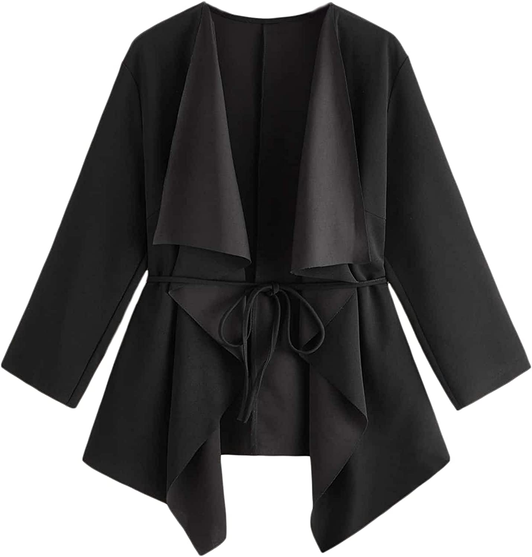 Romwe Women's Plus Size Long Sleeve Waterfall Draped Collar Belted Cardigan Coat