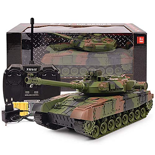 BXQQ 1/24 RC Tank Toys, Battle Tank RC Airsoft Panzer, 2.4Ghz Remote Control Military Vehicle Combat Fight (Color : Green)
