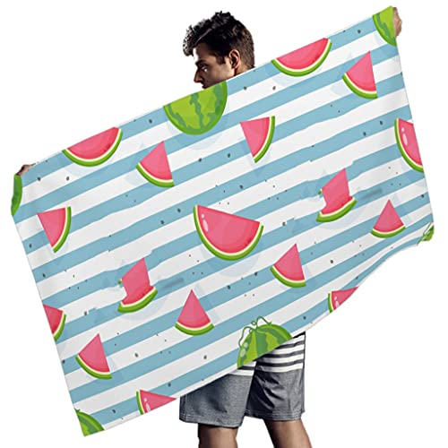 Rtisandu Toallas de playa rectangulares con frutas de sandía, extra grandes, toalla de baño, toalla de deporte, para hombres y mujeres, color blanco, 150 x 75 cm