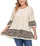 Carrdc Women's Plus Size Tops 3/4 Bell Sleeve Flowy Shirt Blouse Tunic (Beige, 3x)