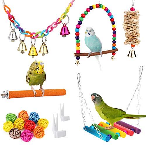 BYZESTY Vogelspeelgoed, set van 17 vogels, houten ladder, speelgoed met landingsplaat, vogelkooi, accessoires voor…