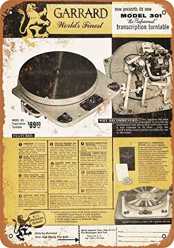 Metallschild, 20,3 x 30,5 cm, Garrard 301 Plattenspieler, Vintage-Look