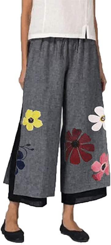 2020 Plus Size Womens Floral Printed Double Layer Sunflower Cotton And Linen Pants