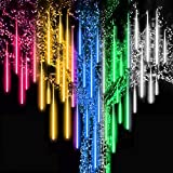 Roytong Waterproof Cascading LED Meteor Shower Rain Lights Outdoor for Holiday Party Wedding Christmas Tree Party Tree Decoration Birthday Gift (Colorful, 11.8)