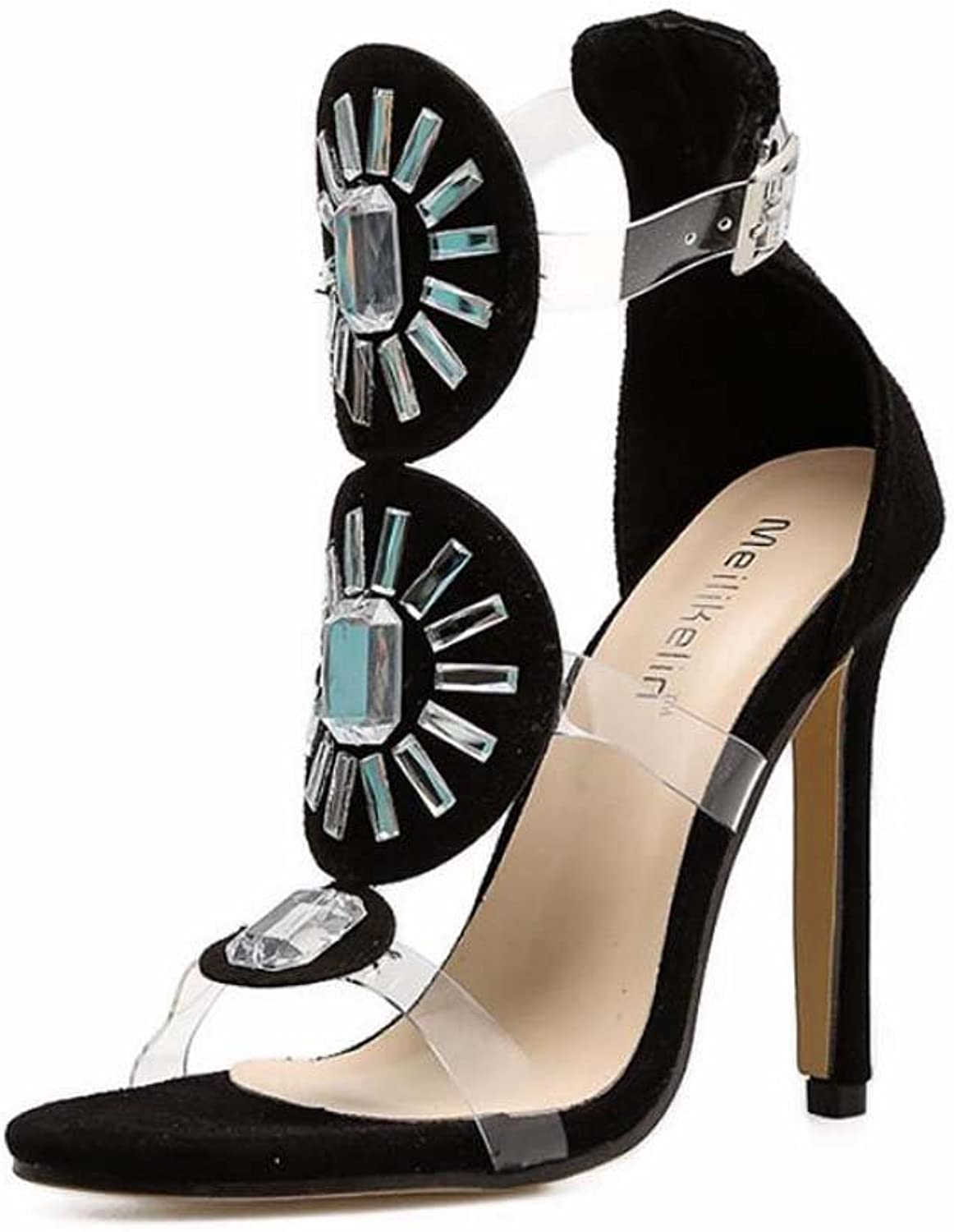 Women Pump 11.5cm Stiletto Open Toe D'Orsay Rhinestone Transparent Sandals Dress shoes Sexy colormatch Ankel Belt Buckle OL Court shoes Party shoes EU Size 34-40
