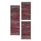HomebyHome Set Alfombra Pelo Corto Corredores Alfombra Cuarto Patrón Moderno 3 Partes Rojo, Color:Rojo, Juego de Cama:2X 80x150 + 1x 80x250