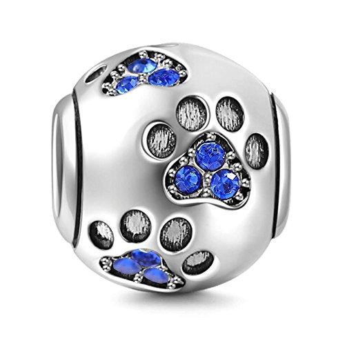 Dije para pulsera Pandora, dije con diseño de huella de pata de perro, plata de ley 925, dije para cumpleaños. azul