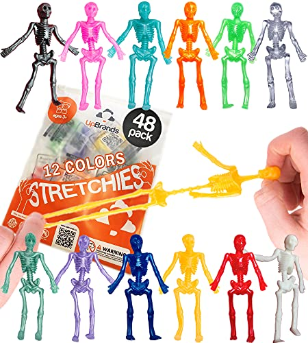 UpBrands 48 Stretchy Toys, Party Favors for Kids Halloween Skeletons, 12 Colors Bulk Set, Kit for Easter Egg Basket Stuffers, Goodie Bags, Pinata Filler, Small Toys Classroom Prizes