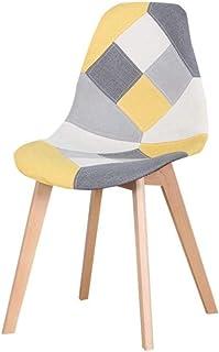 ZNYD Conjunto de 4 sillas nórdicos Medievales del Arte del Estilo de Comedor, de Madera de Haya Soporte de pie de Metal, Adecuado for la Cocina, Comedor (Rojo/Azul) (Color : Yellow)