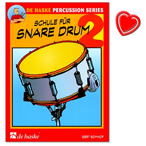 School voor snare drum (kleine trommel) - Band 2 - school voor individueel en groepsonderwijs van Gert Bomhof - met kleurrijke hartvormige muziekklem