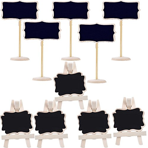 Megrocle 5 Pack Mini Framed Chalkboard Place Cards with Easel and 5 Pack Mini Rectangle Chalkboards Black Board with Stand for Weddings and Parties, Message Board Signs, Graduation Party Supplies