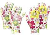 com-four® 2X Paar Gartenhandschuhe in Größe 8 (M) - Schutz-Handschuhe im Blumen-Design für Damen - Arbeitshandschuhe mit Gummibeschichtung (02 Paar - weiß/bunt - Größe M)
