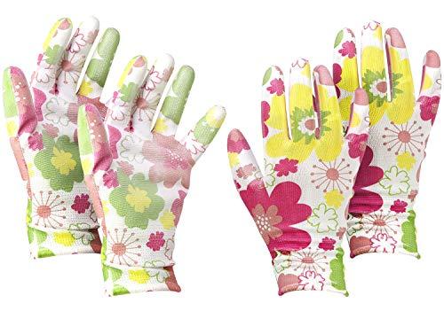 com-four® 2X Par de Guantes de Jardín en Talla 8 (M)- Guantes Protectores en un Diseño Floral para Mujeres- Guantes de Trabajo con Revestimiento Goma (02 Pares - Blanco/Coloreado - Talla M)