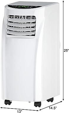 COSTWAY Portable Air Conditioner, 8000 BTU Air Conditioner Unit with Remote Control Dehumidifier Function Window Wall Mount,