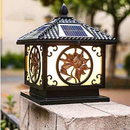 Vinteen Columna solares tradicionales Faros poste de la puerta Luces Villa Jardín Patio de luces a prueba de agua al aire libre pilar Luces al aire libre Gate Mensajes Luz a la pared Mensaje al aire l