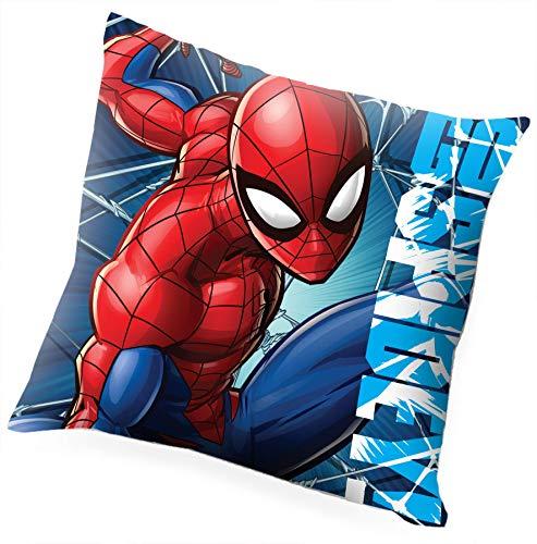 Kids Licensing   Cojin Infantil - Diseño Personaje Spiderman - Personajes Marvel - Cojín Ignífugo - Material: Polyester - Tacto Suave - Cojines Infantiles - Dimensiones: 40 x 40 cm - Licencia Oficial