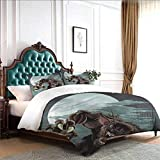 KaMiao 4 Piece Duvet Cover Set with Zipper Closure Night Skyline Werewolf Full Size W79 INCH x L90 INCH Soft and Comfortable