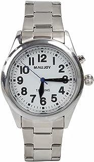 ساعت MAUJOY با کیفیت واضح و بلند فوق العاده نازک Unisex Talking ساعت ، تاریخ یا زمان زنگ هشدار برای افراد مسن ، کم بینا یا نابینا. سفید صورت-شماره های مشکی-باند بسط