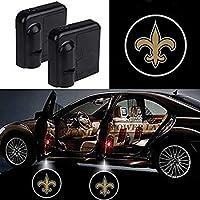 2 Pcs Wireless Car Door Led Welcome Laser Projector light for New Orleans Saints, Car Door Courtesy Light Fit for All Brands of Cars (New Orleans Saints)