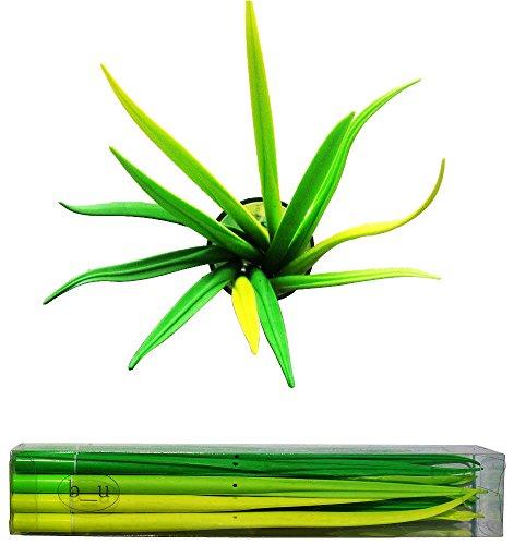 BUOP Extra Fine Black Gel Ink Pen, Forest Green Grass Leaf Novelty Design Grass Pen, Grass Blade, Grass Leaf Shaped Rollerball Pens, Creative Stationery Gift, Dozen (12) Box