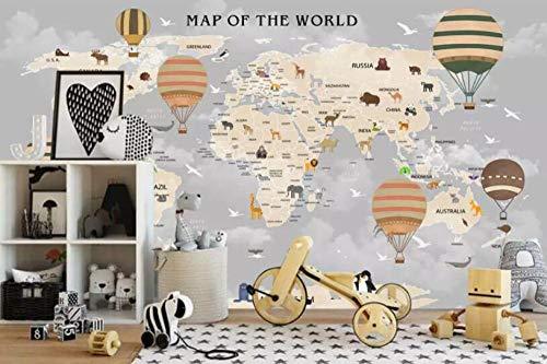 Papel pintado 3d de pared infantil personalizado globo de aire caliente dibujos animados animal mapamundi moda papel pintado 3d-About_300 * 210cm_3_stripes