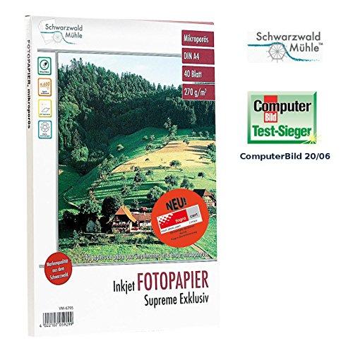 Schwarzwald Mühle Fotopapier DIN A4: 40 Bl. Hochglanz-Fotopapier Supreme exklusiv 270g/A4 (Fotopapier beschichtet)