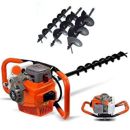 Ahoyador plantador de gasolina 3 piezas taladro de tierra (3,2 kW, 2 Tiempos, 71 CC, Incluye 3 Brocas de 4/6/8 Pulgadas)