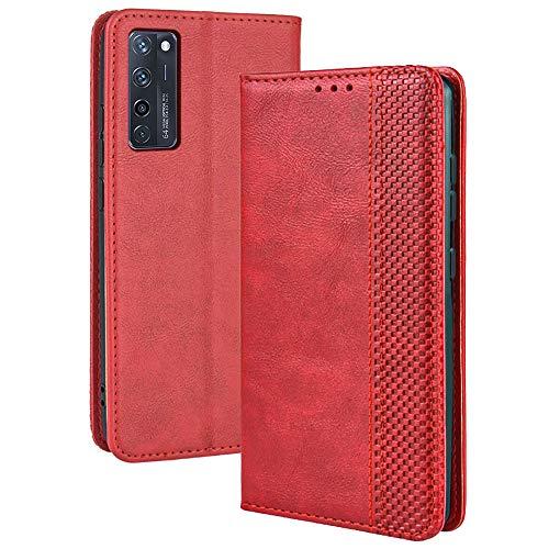 TANYO Leder Folio Hülle für ZTE Axon 20, Premium Flip Wallet Tasche mit Kartensteckplätzen, PU/TPU Lederhülle Handyhülle Schutzhülle - Rot