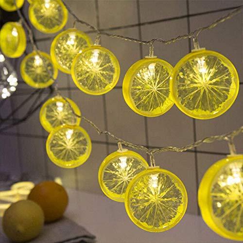 Guirnalda de luces LED con rodajas de limón, simulación de fruta, funciona con pilas, decoración para terraza, valla, balcón, camping (amarillo, 10 m/80 LED)