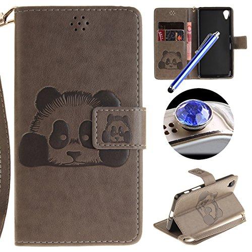 [ Sony Xperia X Performance ] Cuir Coque,Sony Xperia X Performance Housse de téléphone en Cuir, Etsue Retro Panda Motif Portefeuille en Cuir Flip Couverture de Case avec Lanière et Carte de Visite Dossier Fonction pour Sony Xperia X Performance + Cadeaux Gratuit + 1 x Bleu stylet + 1 x Bling poussière plug (couleurs aléatoires)-Gris