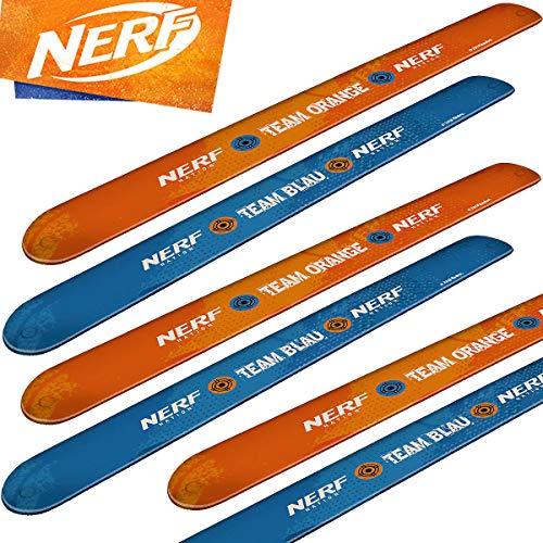 TIB/Hasbro Carpeta® - 6 x NERF Schnapparmbänder ┃ Mitgebsel zum Kindergeburtstag ┃ Klatscharmband ┃ Ready to Blast Party ┃ Kinder lieben Dieses N-Strike Spielzeug