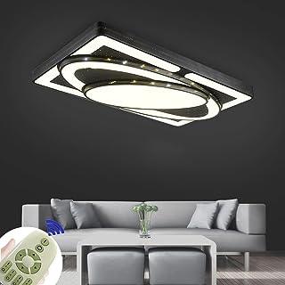 90W Led moderne plafonnier dimmable luminaire noir rectangulaire avec télécommande pour chambre salon couloir bureau (90W ...