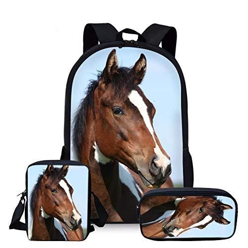 Nopersonality Juego de 3 mochilas escolares para niños, niñas y niños, bolso cruzado pequeño, caballo (Azul) - Nopersonality