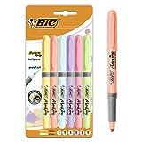 BIC Highlighter Grip Pastel Marcadores de Punta Biselada Regulable - Colores surtidos, Pack de 6