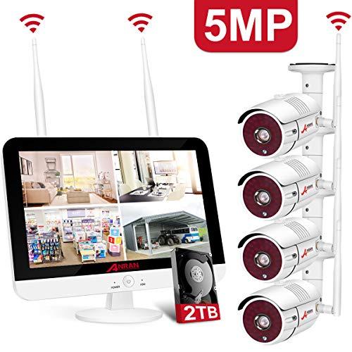 【Nieuwste 5MP】ANRAN 5MP Draadloze Beveiligingscamera Systeem met Monitor, 4CH 1920P NVR 2K Outdoor/Indoor 1080P Beveiliging Camera's Nachtzicht, Bewegingsdetectie, Remote Monitoring, 2 TB Harde schijf