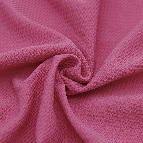 David Angie Solid Color Bullet Textured Liverpool Fabric 4 Way Stretch Spandex Knit Fabric by The Yard for Head Wrap Accessories (Hot Pink)