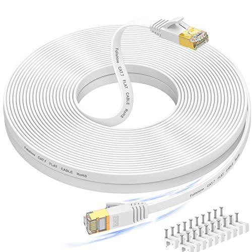 Cat 7 Ethernet Cable 100 ft High Speed, Flat Internet Network LAN Wire, Long Shielded Patch Cord for Modem, Switch, Router, Xbox, Faster Than Cat5e/Cat5/Cat6/Cat6e, – 100 feet, Free Cable Clips