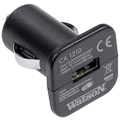 Watson coche cargador ca1210  12V   con puerto USB, cargador para coche, indicador LED azul