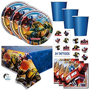 Transformers Theme Birthday Party Supplies Set - Serves 16 - Table Cover Large Plates Napkins Cups Tattoos Button