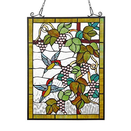 Cotoss Buntglas-Fensterbehang, Buntglasscheibe, Tiffany-Fensterpaneel zum Aufhängen, Tiffany-Glasscheibe, Sonnenfänger, Tiffany-Stil
