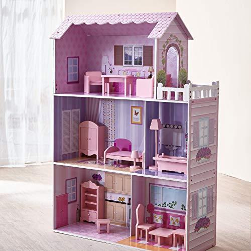 Teamson Kids Casa delle Bambole in Legno Rosa E Mobili per Bambini KYD-10922A