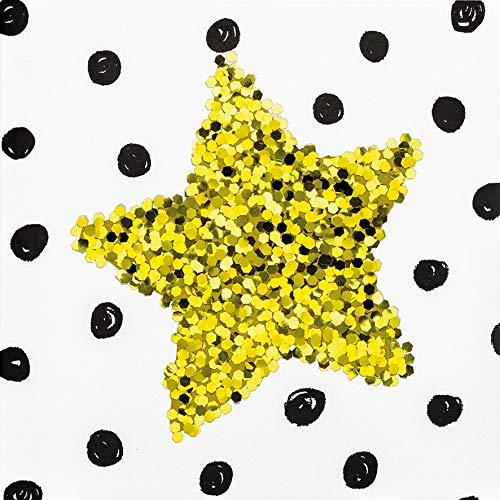 Blanco kaart Black & Gold - ster, grove glitter - 15 x 15 cm
