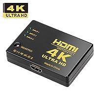 HDMIスイッチ4K、AMALINKウルトラHD 4K HDMIスイッチャースプリッタ3 x 1 HD-DVD / SKY-STB / PS3 / Xbox36、ブラック(4in1)
